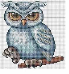 Cross-stitch Owl... no color chart available, just use the pattern chart as your color guide.. or choose your own colors...    Gallery.ru / Photo # 1 - Sovushka - irisha-ira
