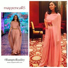 #RampToReality: Client Tejasvi Duvuri looking effortlessly chic in the Onion pink flat chiffon cape jumper from our collection! #mapxencaRS #RiddhiSiddhi #IBFW India Beach Fashion Week