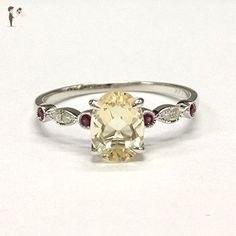 Oval Yellow Morganite Engagement Ring Rubies Diamonds Wedding 14K White Gold Claw Prong Antique Art Deco - Wedding and engagement rings (*Amazon Partner-Link)