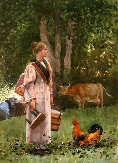 "realism-love: ""The Milk Maid via Winslow Homer Medium: watercolor, paper"" Winslow Homer, National Gallery Of Art, Art Gallery, Illustrations, Illustration Art, John Russell, Gauguin, Kunst Online, Oil Painting Reproductions"