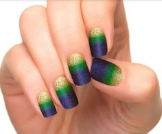 Nail art designs inspired in the World Cup Brazil 2014 In case you are not fan of any team in particular, but you still want to celebrate the World Cup 2014, you can use this glittery designs with golden, green and blue.
