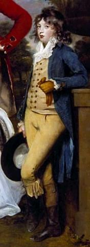 A dandy in the making. Thomas Draddyll in 1789 wears a typical boy's suit of the era. Painted by Sir Joshua Reynolds. Image from one of my blog posts.