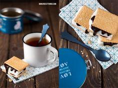 S'mores mit Ahornsirup und Bourbon / Bloomingville Servietten / Lov Organic Tea / Sabre Spoon