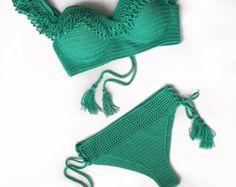 Crochet baño Croptop 2-Push-up Bikini inferior de la falda