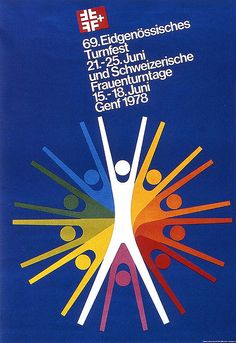 Swiss Graphic Design    Georg Almstadt poster. 1978. Poster for a gymnastic event.
