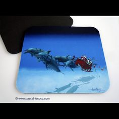 CLAUS UNDERWATER TOUR HO HO HO, mouse pad by Pascal, The Painter of Blue ®, ©www.pascal-lecocq... $9.95