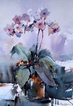 by Corneliu Dragan-Targoviste Watercolor Water, Watercolor Artists, Watercolor Flowers, Watercolor Paintings, Art Floral, Fruit Painting, Flower Art, Art Photography, Artwork