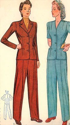 1940s War Time PANT SUIT Pattern SIMPLICITY 4407 Rosie Riveter Slacks Suit Bust 36 WWII Era Vintage Sewing Patterns