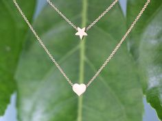 Free Shipping in US -  Star of my Heart  Necklace  -  Summer dainty necklace via Etsy