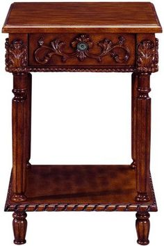 """Chelsea Square Anywhere Table With Wood Top, WOOD-TOP 18"""" SQ, ANTIQUE CHERRY by Home Decorators Collection. $139.00. Easy assembly.. 25.5""""H x 18.5"""" square.. Inside of drawer: 2.5""""H x 9.75""""W x 12.25""""D.. This table makes a great end table or accent table to use in any room. Featuring carved details and a bottom shelf, this Heirloom table adds an upscale look to your decor.Offering exquisite craftsmanship and featuring carved details, this remarkable piece will take your deco..."""