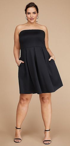 Plus Size Strapless Fit & Flare Dress