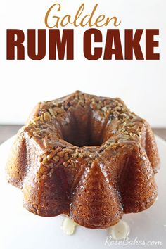 This Golden Rum Cake is an extra moist, buttery yellow cake with a crunchy pecan topping and a butter rum sauce that makes it perfection. It's also easy enough to have for any family gathering and perfect for the holidays! Cake Recipes, Dessert Recipes, Rum Recipes, Margarita Recipes, Muffins, Easy Cake Decorating, Decorating Ideas, Salty Cake, Cake Toppings