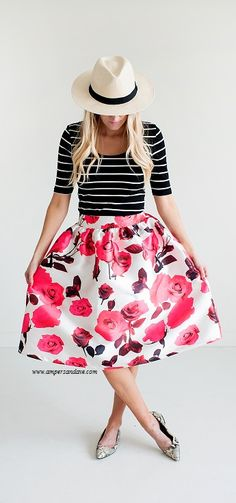 Mixed Pattern Fashion. I love the stripes and floral full skirt.