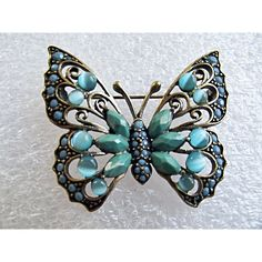 1980 Pretty Vintage Butterfly Brooch, Liz Claiborne, Teal, Turquoise... ($23) ❤ liked on Polyvore featuring jewelry and brooches
