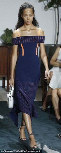 Tailored dresses with detailed pipingalso graced both show's runways. Friday's Jason Wu show (right)