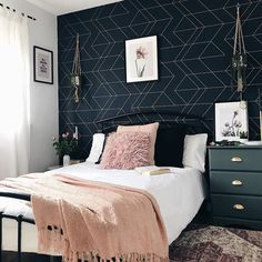 (AD) I'm so pleased to show you the spare room revamp that I've been working on in collaboration with I've done it all myself, so I hope you Blue And Gold Bedroom, Navy Bedroom Decor, Room Ideas Bedroom, Cozy Bedroom, Navy Blue Bedrooms, Blue Feature Wall Bedroom, Wall Paper Bedroom, Dark Bedroom Walls, Master Bedroom