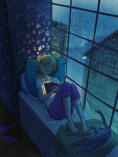 Reading on a rainy night illustration Cartoon Kunst, Cartoon Art, Wie Zeichnet Man Manga, Night Illustration, Scenery Wallpaper, Anime Scenery, Anime Art Girl, Aesthetic Art, Cute Drawings