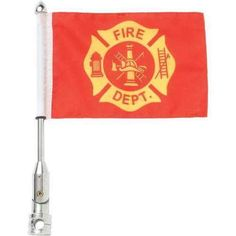 3pc Motorcycle Flagpole Mount with Fire Dept. and USA Flag