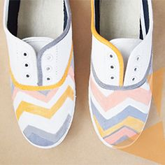 Learn how to design and colour a pair of canvas shoes to make a perfect addition to your summer wardrobe!
