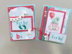 Two adorable baby boy cards by Irit Shalom made with our My Little Star papers #cardmaking #baby #scrapberrys