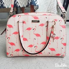 Handbags & Wallets - kate spade flamingo printed small felix w/charm kate spade flamingo printed… - How should we combine handbags and wallets? Backpack Purse, Purse Wallet, Clutch Bag, Flamingo Print, Pink Flamingos, Flamingo Decor, Kate Spade Handbags, Kate Spade Bag, Purse Styles