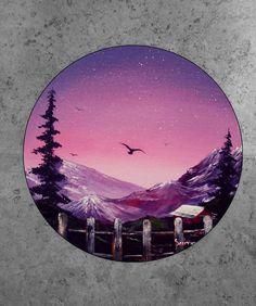 8 acrylic on round canvas. Circle Canvas, Round Canvas, Circle Art, Galaxy Painting, Galaxy Art, Vinyl Record Art, Vinyl Art, Rock Art, Watercolor Paintings