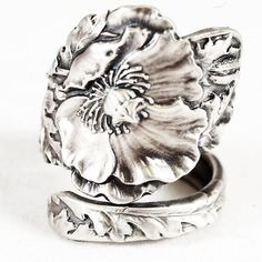 Poppy Ring, Amazing Art Nouveau Poppy Jewelry, Sterling Silver Spoon Ring, Heirloom Piece, 5th Anniversary Gift, Adjustable Ring Size (5808)