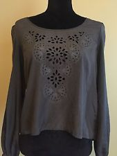 Gray Silky Laser Cut Out Sexy Boho Top Xhilaration Small Bohemian Blouse