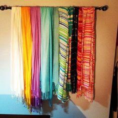 Scarf Wall   awesome way to organize scarfs