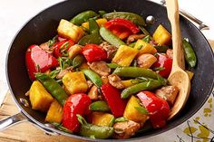 This 25-minute chicken thigh stir-fry gets its sweet and colorful appeal from red peppers, chunky pineapples and sugar snap peas.