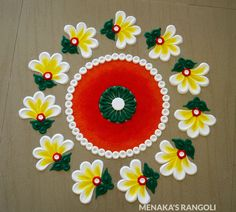 50 Vrishabha Sankranti Rangoli Design (ideas) that you can make yourself or get it made during any occasion on the living room or courtyard floors. Rangoli Designs Simple Diwali, Rangoli Designs Flower, Free Hand Rangoli Design, Rangoli Designs Images, Rangoli Ideas, Rangoli Designs With Dots, Flower Rangoli, Beautiful Rangoli Designs, Simple Rangoli