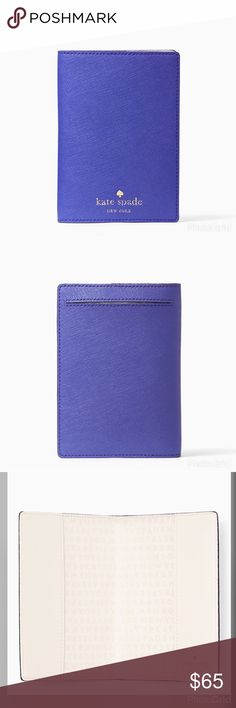 "💜 Kate Spade Mikas Pond Passport Holder Blue Leather passport holder from kate Spade.  5.3"" H x 7.5"" W.  Brand New.  Kate Spade logo embossed in gold color letter. kate spade Accessories"