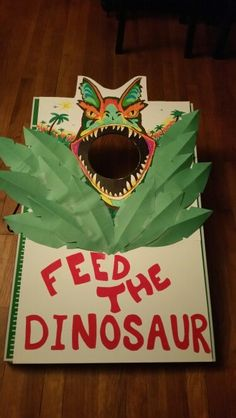 Feed the Dinosaur homemade bean bag game for my sons 2nd birthday.