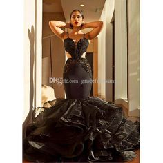 Black Mermaid Formal Evening Dresses Sweetheart Spaghetti Straps Sexy Long  Evening Gowns Beaded Ruffles Organza Skirt Party Dresses Buy Dress Online  Buy ... 137cba11ff61