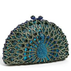Tasha 'Peacock' Clutch (90 KWD) ❤ liked on Polyvore featuring bags, handbags, clutches, purses, bolsas, blue, peacock feather purse, blue hand bag, blue purse and hand bags