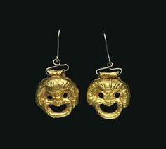 A PAIR OF ROMAN GOLD THEATER MASK PENDANTS  CIRCA 1ST CENTURY A.D.  Formed of sheet, each depicting a mask of a comic slave, with circular e...