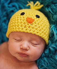 Yellow & Orange Chick Crochet Beanie - Infant  Crochet Inspiration