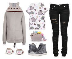 """#PVxPusheen"" by sunako-nakahara on Polyvore featuring Pusheen, Denim of Virtue, Converse, contestentry and PVxPusheen"