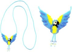 https://flic.kr/p/7J6Lyh | Blue and Gold Macaw Beaded necklace | Made by me from a pattern by Sarah's Beading Obsession