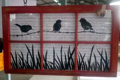 Farmhouse decorating using song birds on a wire painted on window frame Old Window Crafts, Old Window Projects, Art Projects, Project Ideas, Painted Window Panes, Window Frame Art, Old Windows Painted, Painted Screens, Stained Glass Panels