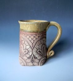 Gold Lace Impressed 16oz Mug by blueheronpottery on Etsy, $34.00