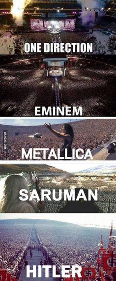 One Direction, Eminem, Metallica, Saruman! Metallica, Legolas, Tolkien, One Direction, Haha, Funny Memes, Jokes, Hilarious, Funniest Memes