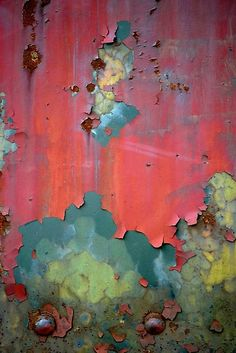 "gorgeous color palette and texture in metal: (via ""Mother Nature is Pissed"" by Wendy Brusca Textures Patterns, Color Patterns, Painting Inspiration, Color Inspiration, Arte Peculiar, Motifs Animal, Peeling Paint, Abstract Photography, Nature Photography"