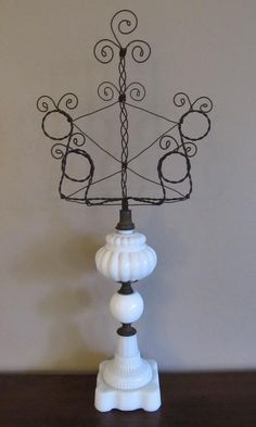 Vintage Milk glass lamp and wire photo by SassytrashAntiques