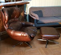 Vintage Overman Chair and Ottoman Chocolate by ModerneAmericana