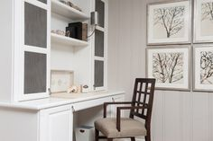 LIVING ROOM - Custom Designed Desk with Metal Library Grilles Inset; Somerset Arm Chair, Wendover Set of Four Watercolor Prints; Liepold Design Group LLC