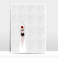 Schwimmen in einem Meer aus Punkten: Illustration für Schwimmer auf hochwertigem Strukturkarton. Geschenk kaufen von Amy & Kurt Berlin via DaWanda.com