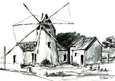 El Molino (The Windmill) Pen and Wash Pen And Wash, Framed Prints, Canvas Prints, London City, Windmill, Painting & Drawing, Tapestry, Drawings, Artwork