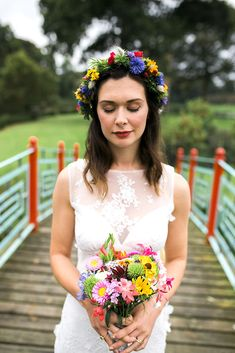 DIY Wedding Flowers Rebecca took a flower making course and deicded she wanted to make her own personal and in seasons floral boho flowercrown and bouquet. | Autumnal Dalswinton Wedding