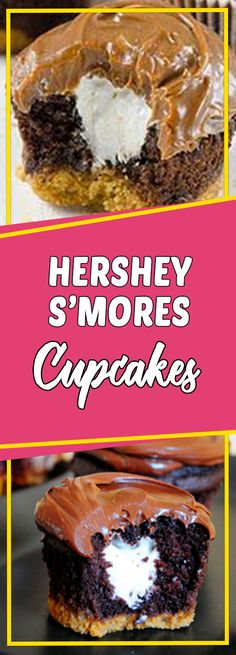 Hershey S'mores Cupcakes #dessertrecipes dessert recipes easy #copycatrecipe copycat recipe #recipe recipe #dessert dessert ideas #desserttable dessert table ideas #appetizer appetizer recipes easy